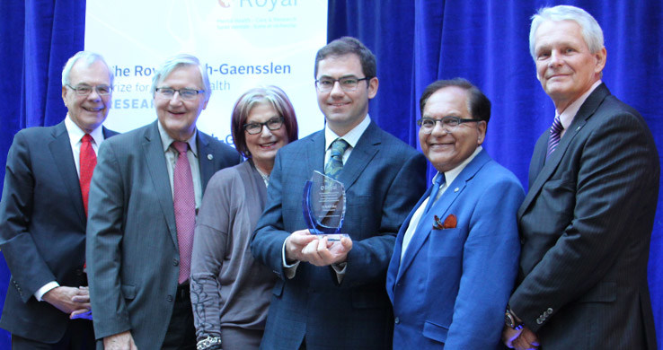 L-R: Dr. Chris Carruthers, Chair, Mach-Gaensslen Foundation of Canada; George Weber, President & CEO, The Royal; Louise Bradley, CEO, Mental Health Commission of Canada; Dr. Rudolf Uher, 2016 Award Recipient; Dr. Zul Merali, President & CEO, IMHR; Scott McLean, Chair, The Royal's Board of Trustees (CNW Group/The Royal)